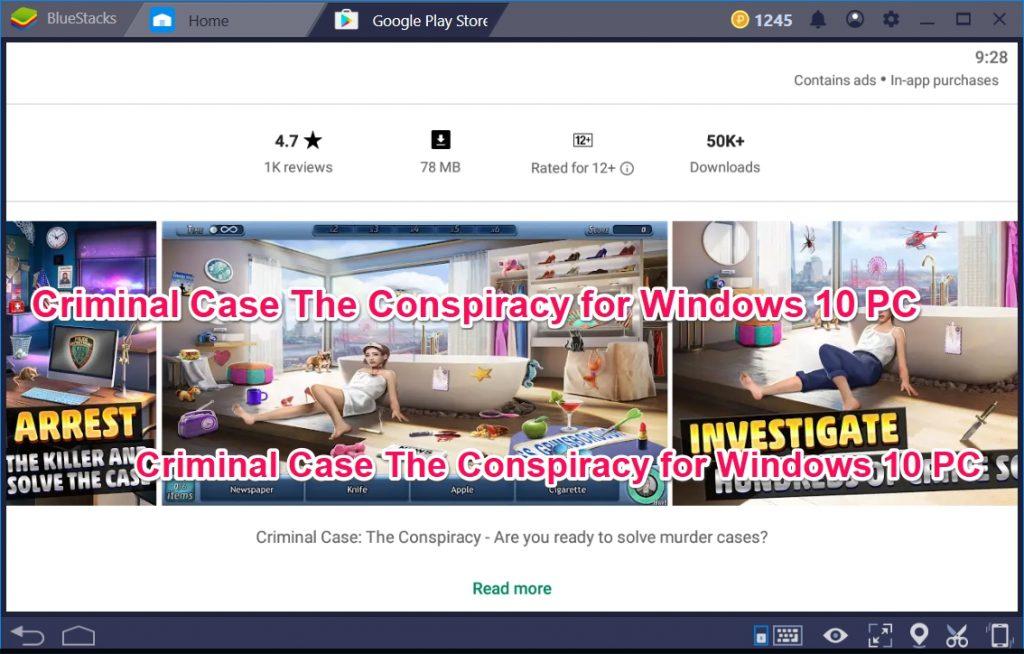 Criminal Case The Conspiracy for Windows 10 PC