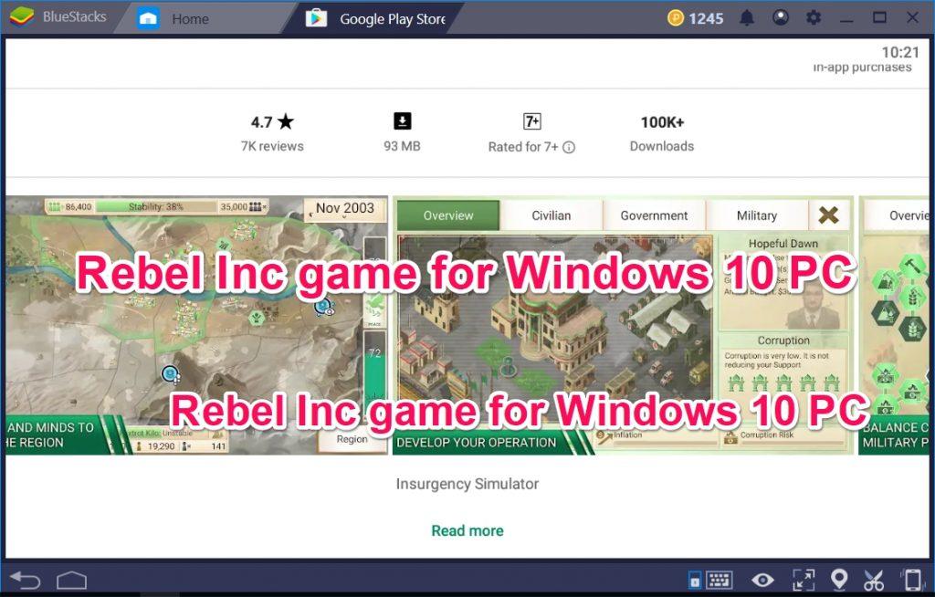 Rebel Inc game for Windows 10 PC