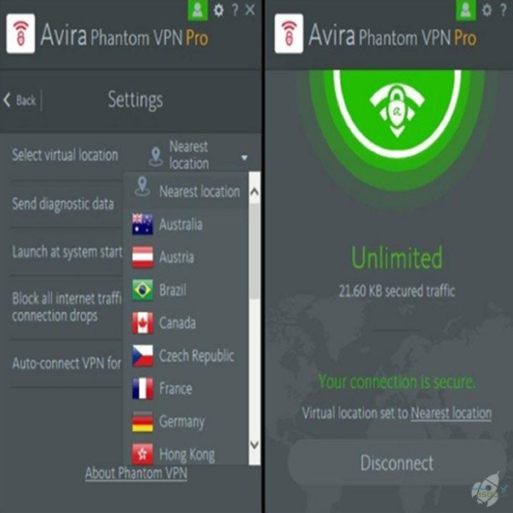 Avira Phantom VPN Pro for Windows 10 PC